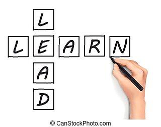 cruciverba, scritto, learn-lead, mano