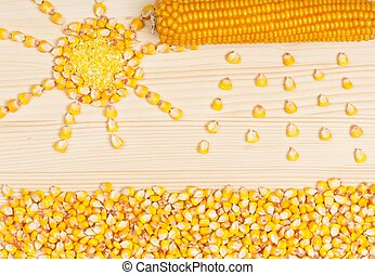 Crude corn - Abstract picture from grains of crude corn on a...