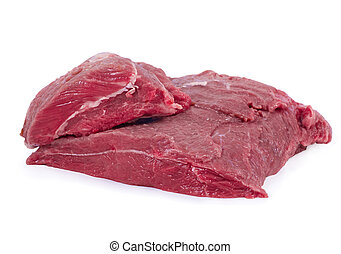 Crude meat on white background