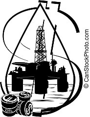 Crude oil production - Oil and gas industry. Black and white...