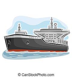 Crude oil tanker ship - Vector illustration of logo for...