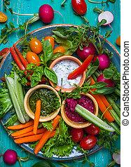 Crudite Platter - Veggie crudite platter with three...