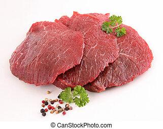 crudo, aislado, carne de vaca, carne