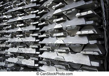 crudo, aluminio, lingote