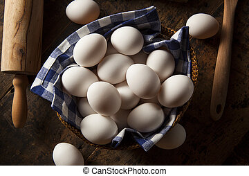 crudo, blanco, orgánico, huevos