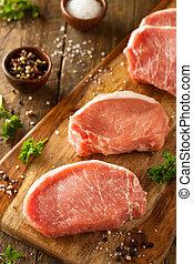 crudo, cerdo, orgánico, boneless, corta