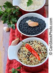 crudo, chile, tazones, arroz
