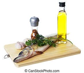 crudo, cottura, luccio, ingredienti