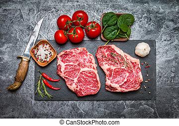 crudo, fresco, filete, jaspeado, carne