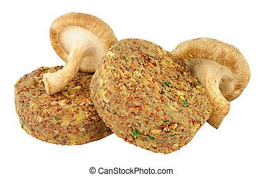 crudo, fungo, hamburger