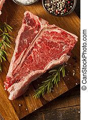 crudo, grueso, filete, t-bone