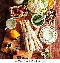 crudo, ingredienti cucinare, per, un, asparago, ricetta