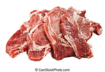crudo, jugoso, carne