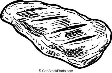 crudo, mano, carne, disegnato
