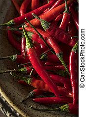 crudo, organico, rosso, pepi tailandesi