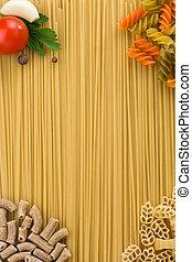 crudo, pasta, e, cibo, ingrediente