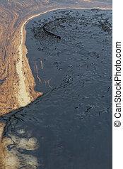 crudo, piedra, aceite, playa, derramar