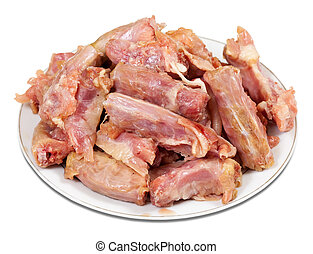 crudo, pollo, collo, fresco
