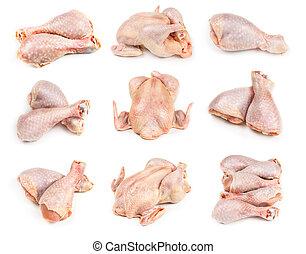 crudo, pollo, conjunto, entero, piernas