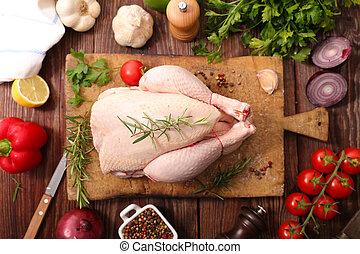 crudo, pollo