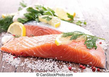 crudo, salmón, y, ingrediente
