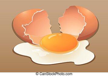 crudo, uovo, screpolatura