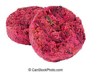 crudo, vegan, barbabietola rossa, hamburger