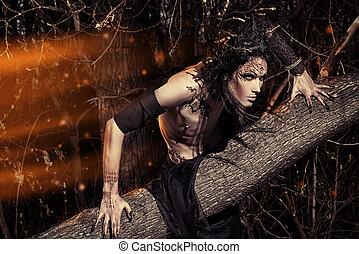 cruel hero - Man-tree in a wild wood. Art project. Fantasy....