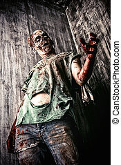 cruelty - Scary bloody zombie man in the old house. Horror....