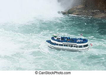 Cruise at Niagara fall waterfall