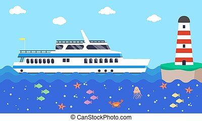 Cruise boat in sea near lighthouse, vector illustration. Ship travel in cartoon ocean, wave water marine. Vacation blue background