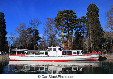 Cruise boat on Annecy lake, France