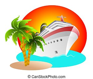 An illustration of cruise anchored at small island
