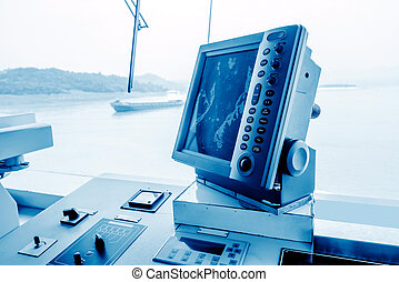 Cruise control room equipment - Interior of Cockpit of a...