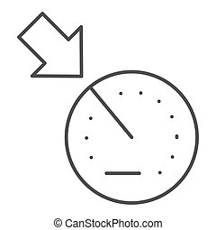 Cruise control thin line icon. Car dashboard vector illustration isolated on white. Automobile dial outline style design, designed for web and app. Eps 10.