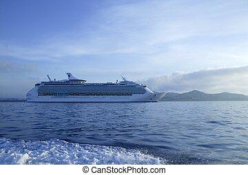 Cruise in Ibiza Island, Mediterranean sunrise. Spain