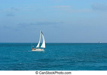 Yacht in Caribbean sea