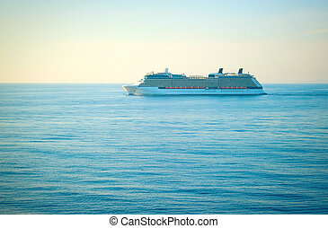 Cruise liner at sunset