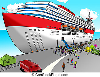 Cruise Liner - Cartoon illustration of a cruise liner
