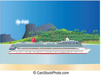 Cruise Liner - A vector image of a Red and White Cruise...