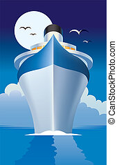 Cruise liner, cruise ship vector illustration