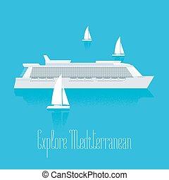 Cruise liner in Mediterranean vector illustration