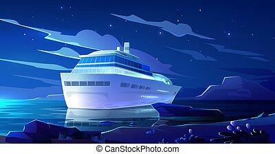 Cruise liner in ocean at night. Modern ship, boat
