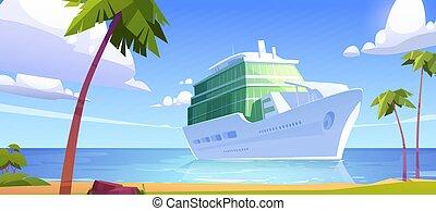 Cruise liner in ocean, modern white ship, sailboat