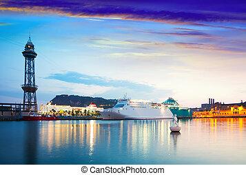 cruise liner  in Port Vell. Barcelona