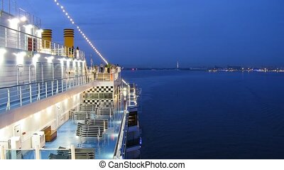 Cruise liner leaves Saint Petersburg at night, time lapse