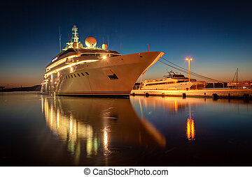 Cruise liner - Modern cruise liner in the harbor at night