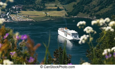 Cruise Liner On Fjord, Norway