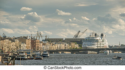 Cruise liner on the river Neva in St. Petersburg, Russia.