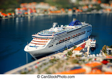 Cruise liner in Kotor bay near the old city. Top view from...